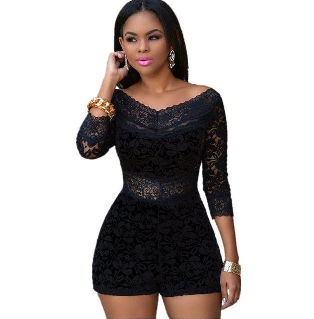 New Arrival 2016 Sexy Club Bodycon Jumpsuit V Neck Black White Lace Overlay Off-Shoulder Womens Rompers Overalls