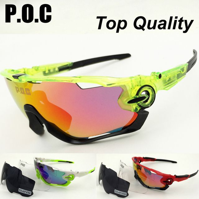 POC Brand 3 Lenses Polarized Cycling Sunglasses MTB Bike Cycle Eyewear Men Women Sport Goggles Accessories Bicycle Cycle Glasses