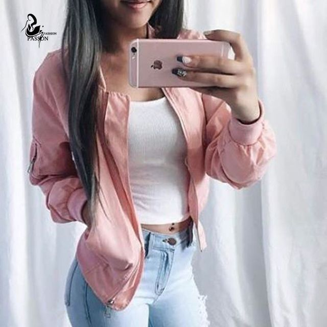 women Vintage Satin solid color Baseball Jacket 2016 New fashion long sleeve zipper Bomber Jacket Pilots Coat   Outerwear