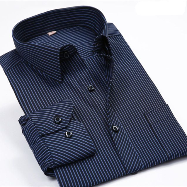 Men's Striped Dress Shirt Long Sleeve Cotton Non-iron Business Work Formal Shirt 15 Colors