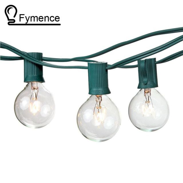 100Ft Globe String Lights G50 100 Clear Globe Bulbs 220/110V Black Wire,UL Listed, Indoor/ Outdoor Patio String Light,Extendable