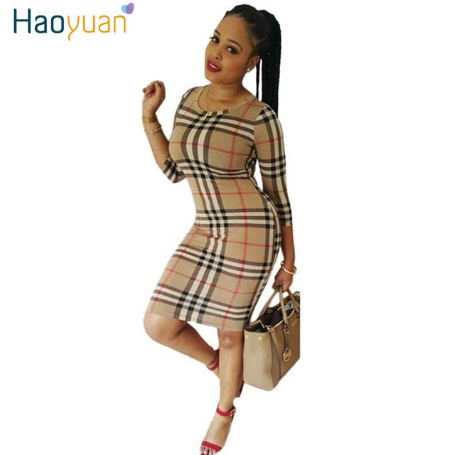 Women Autumn Dress 2017 New Fall High Quality Elegant Slim Party Sexy Dresses Long Sleeve Plus Size Vintage Plaid Bodycon Dress