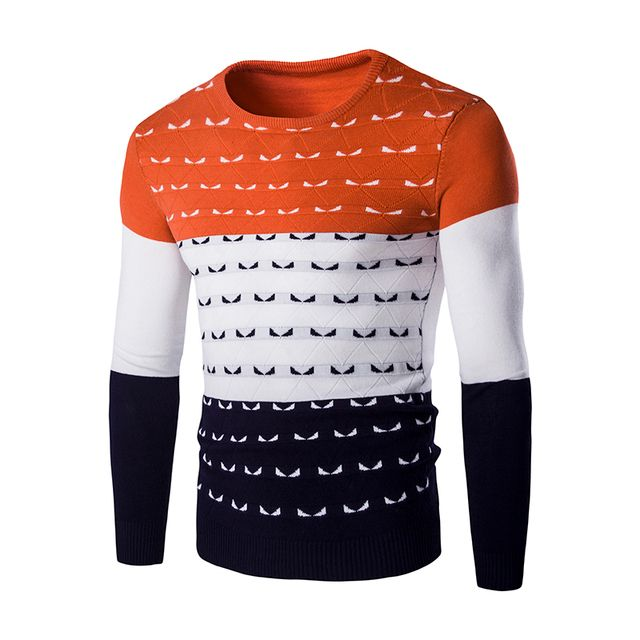 2016 New Autumn Fashion Brand Casual Sweater O-Neck Letter Print Slim Fit Knitting Mens Sweaters And Pullovers Men Pullover Men