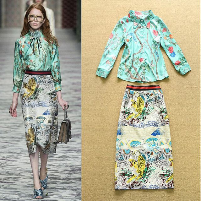 High Quality 2016 New Runway Women Skirt Suits Print Blouse And High Waist Printed Pencil Skirt Women