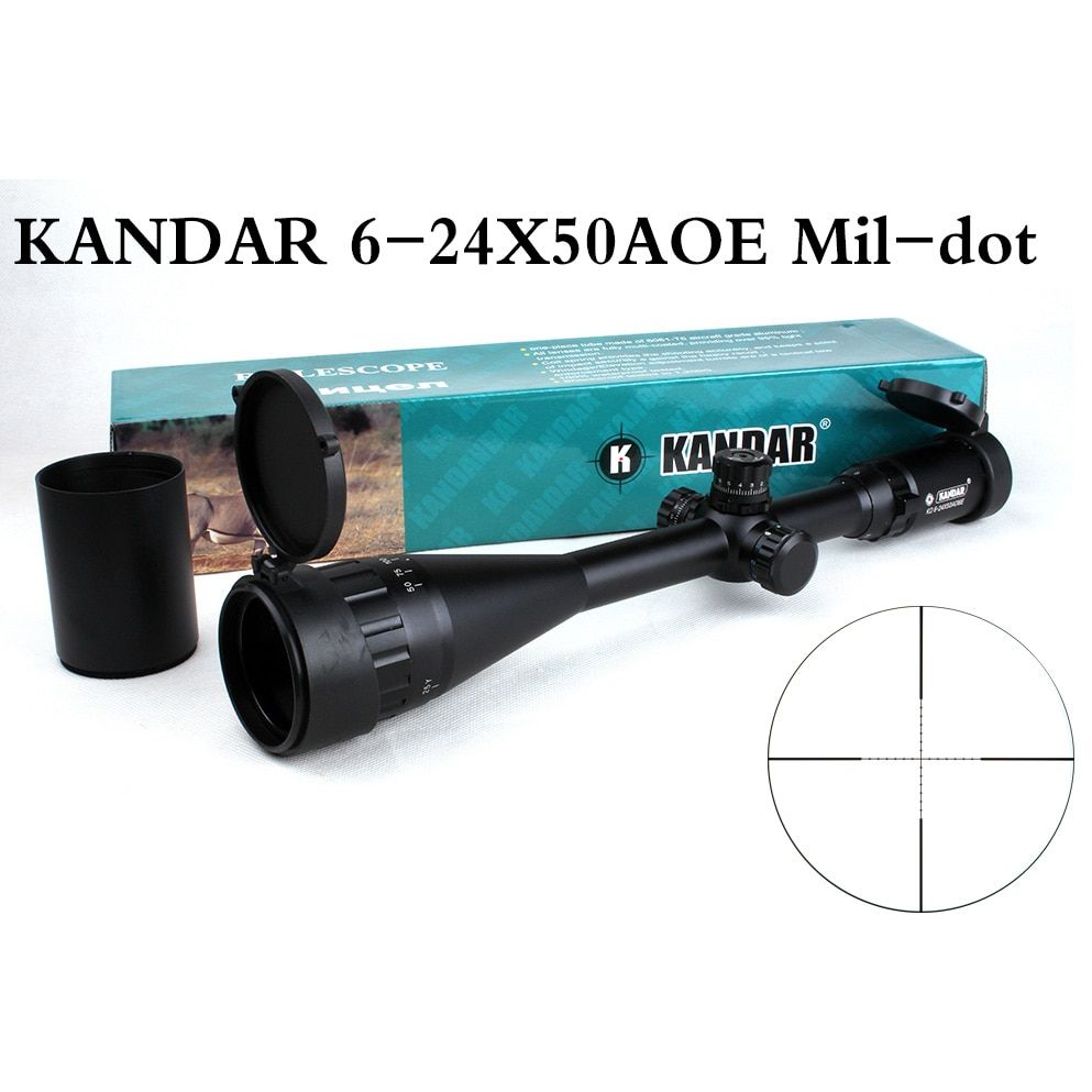 Tactical Optical Sight KANDAR 6-24x50 AOE Mil-dot Reticle RifleScope Locking/Resetting Hunting Rifle Scope
