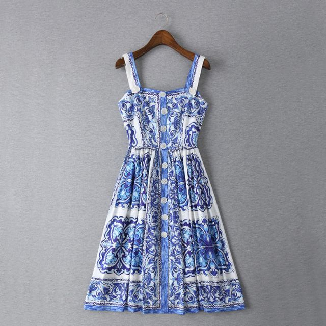 Summer Dress 2016 Fashion Daily New New Women's Spaghetti Strap Blue White Porcelain Flowers Printed Mini Dress
