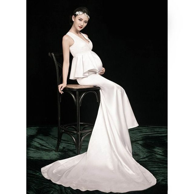Pregnancy Photo Shoot Beach Dress Maternity V-neck Long Dress Pregnant Photography Props Fancy Clothes with Headwear