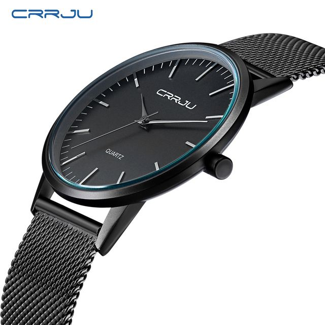 Top Luxury Brand Men's Watches Casual Black dial ultra thin stainless steel Mesh strap quartz watch men clock male Free gift box
