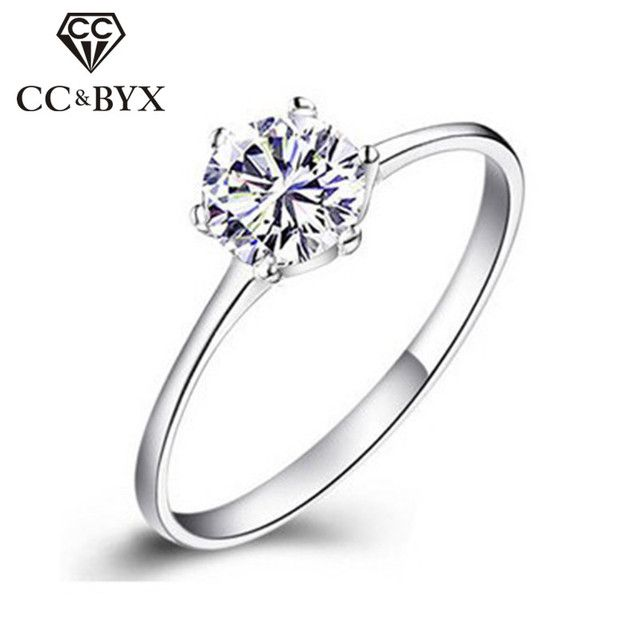 Engagement Rings For Women Simple Classic Bague CC041 White Gold color CZ Jewelry Bijoux Femme Wedding Ring Women