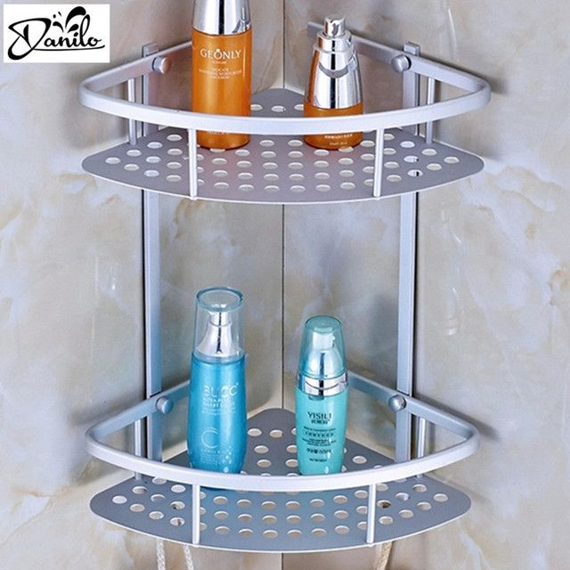 Hot Sale Space aluminum Bathroom Shelf Two Layer Wall Mounted Shower Shampoo Soap Cosmetic Bathroom Shelves Bathroom Accessories