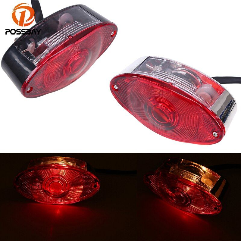 POSSBAY Motorcycle Brake Light Red Stop Tail Light Cafe Racer For Harley Davidsion Honda Yamaha Suzuki Moto Rear Taillight