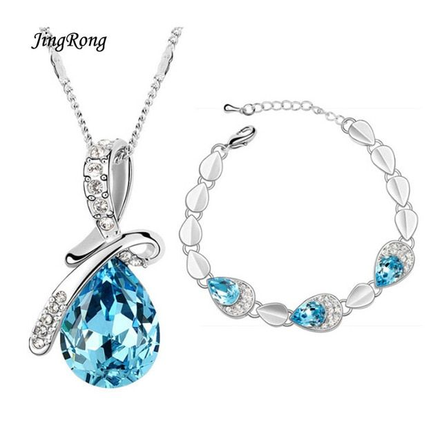 2017 New High-End Jewelry South Korea Crystal Austrian Crystal Jewelry Necklace And Bracelet Factory Direct Sale Couples Jewelry