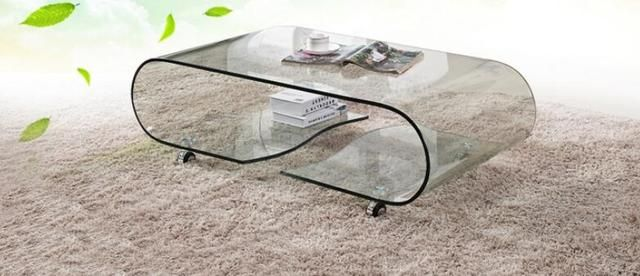 Hot bending glass sitting room small family tea table