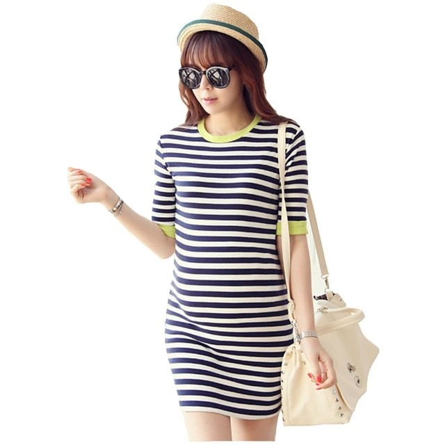 New arrival maternity clothes pregnant dress Korean style elastics striped clothes for pregnant women maternity dresses