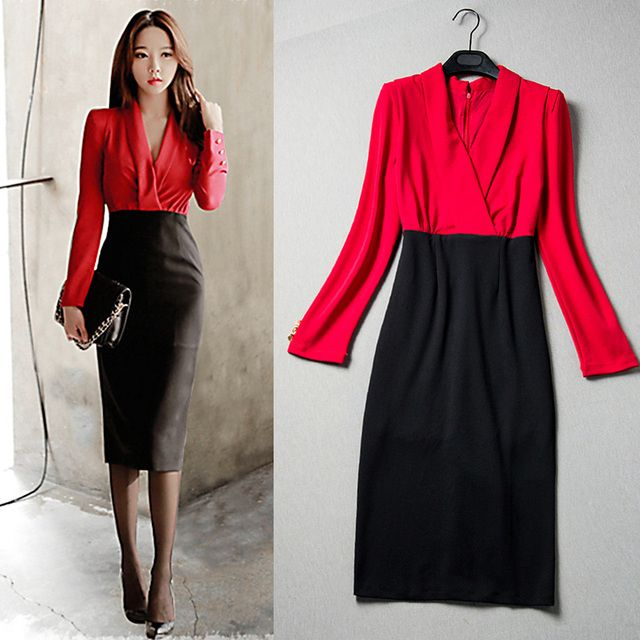 Spring new temperament of cultivate one's morality deep v-neck false two splicing pencil  long sleeve professional dress