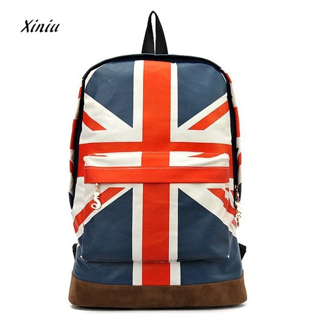 British Flag Style Backpack 2018  New UK England Flag Backpack Canvas School Bags Trendy Bolsas Mochilas Femininas mujer