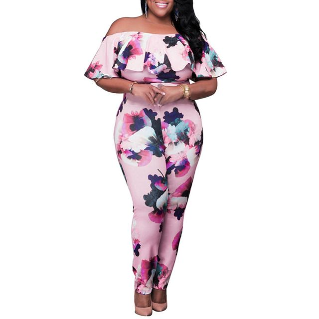 Plus Size 3XL Jumpsuit Women Sexy Off Shoulder Ruffles Bodysuit Autumn Bandage Bodycon Long Pants Jumpsuit Floral Print Catsuit