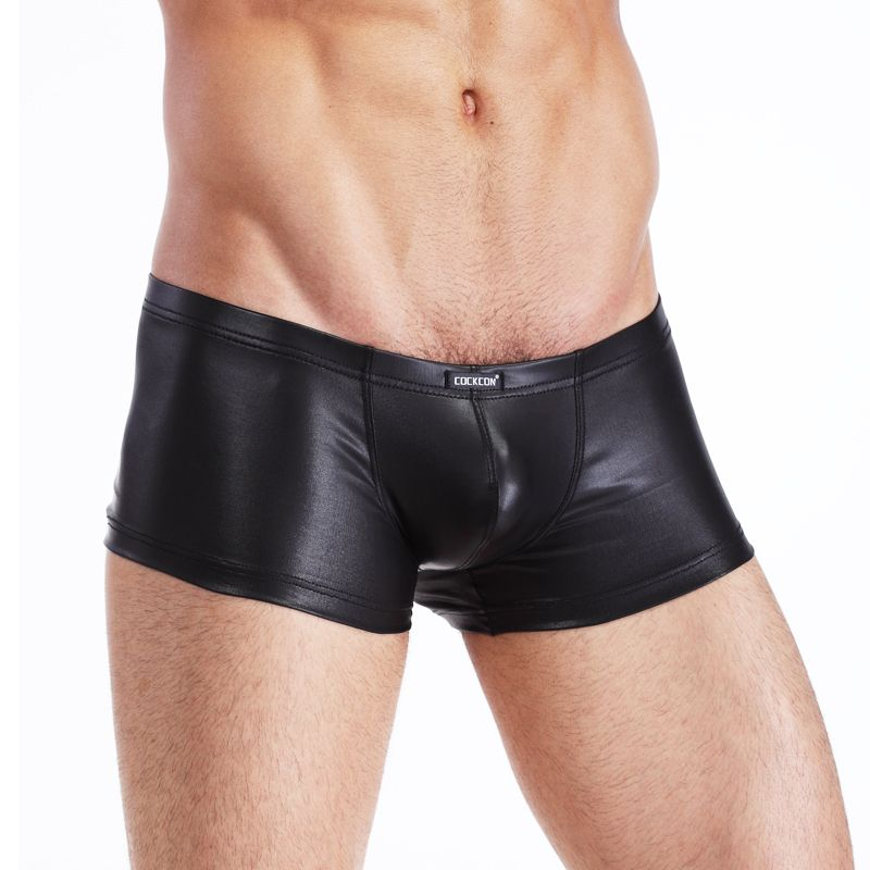 2018 New Men Boxers Pu Leather Shorts Sexy Tight Elastic Men Sexy Underwear Faux Leather Men Boxers Shorts Best Factory Price 2p