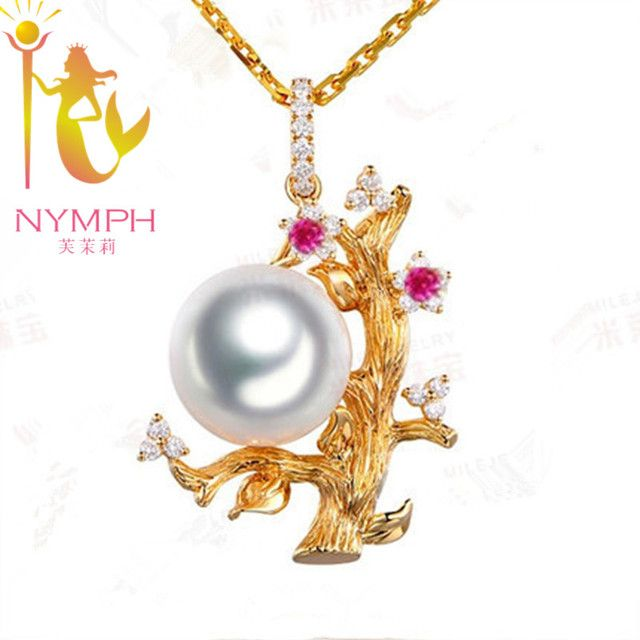 Max tree NYMPH 10-11mm natural pearl necklace pendant jewelry  Silver ,fine freshwater pearl,send chain[PJDZ053]