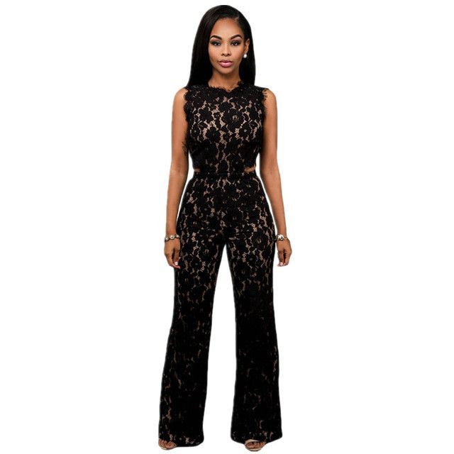 Cfanny 2016 New Rompers Womens Jumpsuit Black Lace Nude Illusion Back Cutout Wide Leg Elegant Jumpsuit Summer Overalls For Women