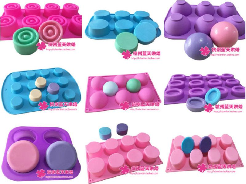 10 pcs Silicone cake mould soap mold ice cube tray donuts baking tools round hole oval cylinder series