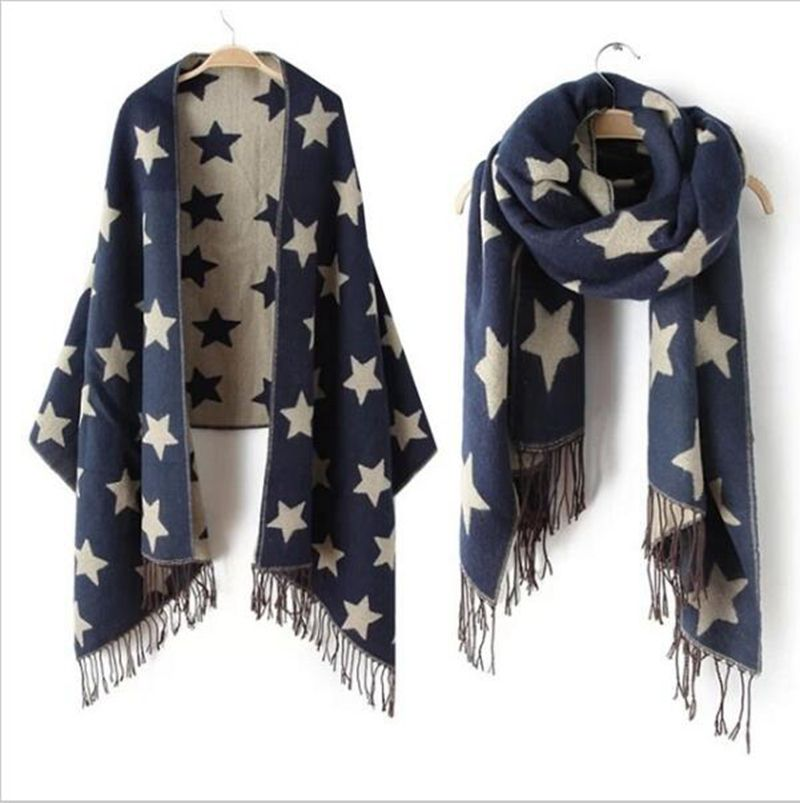 2017 New Designer Scarf 200*65cm Wool Winter Scarf Women Scarves Five-Pointed Star Blanket Long Cashmere Scarf shawls For women