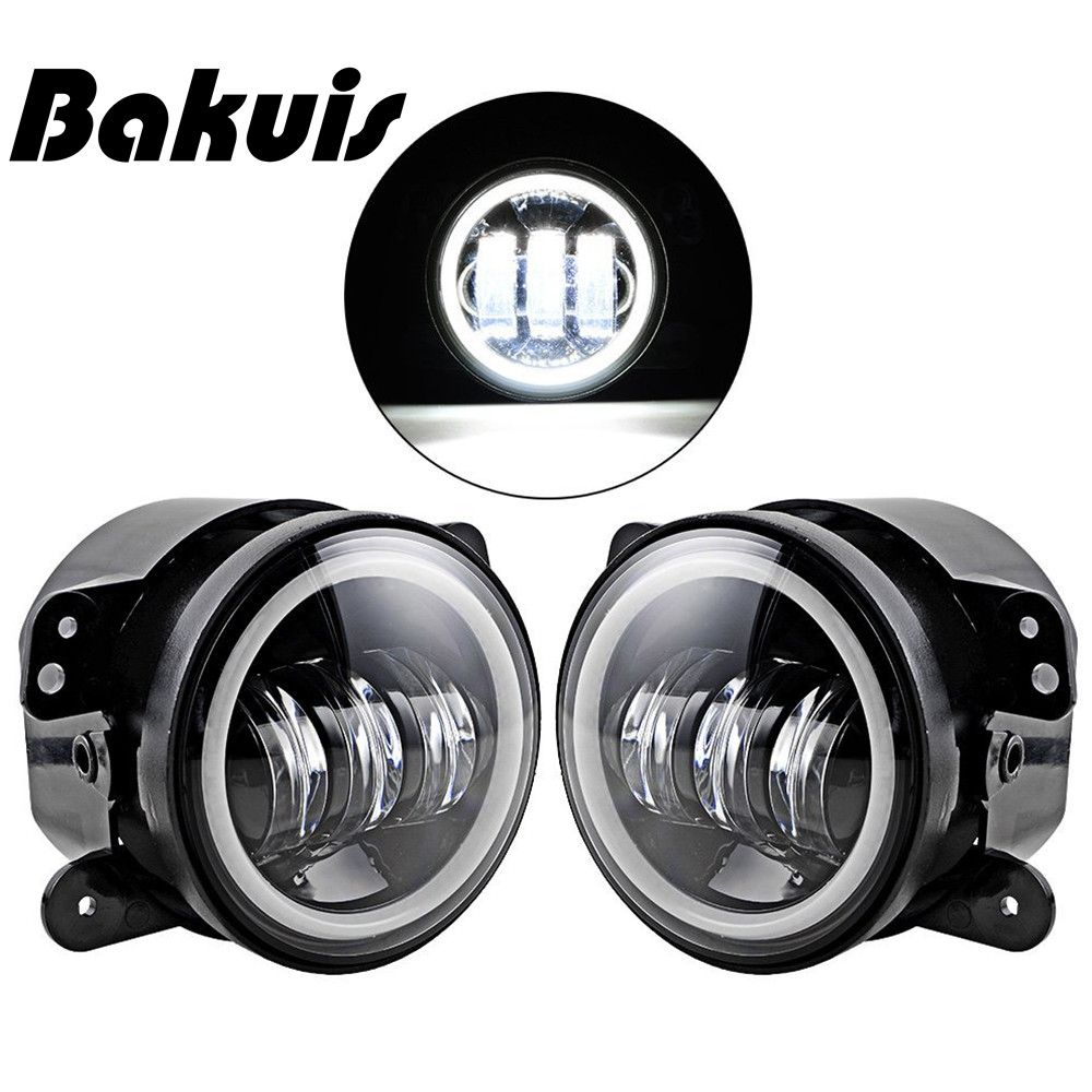 Bakuis Pair 4 Inch LED Fog Lamp Halo Angle Eyes Light Fit Chrysler Dodge Jeep Wrangler