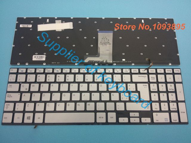 Free Shipping Original NEW Spanish keyboard For Samsung Ativ Book 8 NP880Z5E NP880Z5E-X01UB Laptop Latin Silver Keyboard