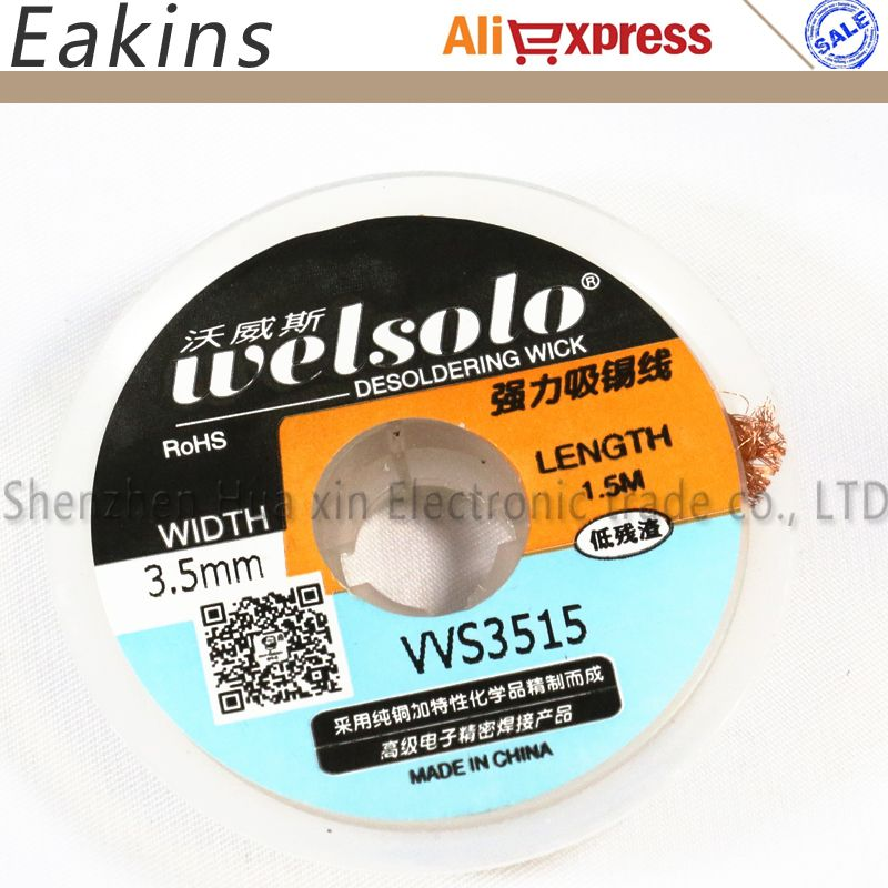 Free shipping 5 PCS/LOT BGA Desoldering wire Braid solder Wick WELSOLO WS3515 Soldering Accessory for Absorb excess solder