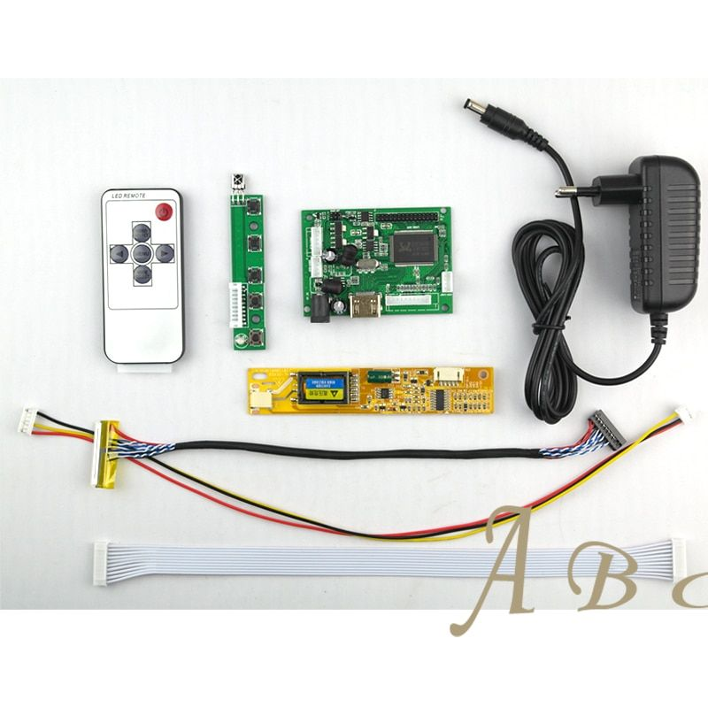 HDMI Controller Board + Inverter + 30Pins Lvds Cable + Power Adapter + Remote Kits for Raspberry PI 1280x800 1ch 6 bit LCD Panel
