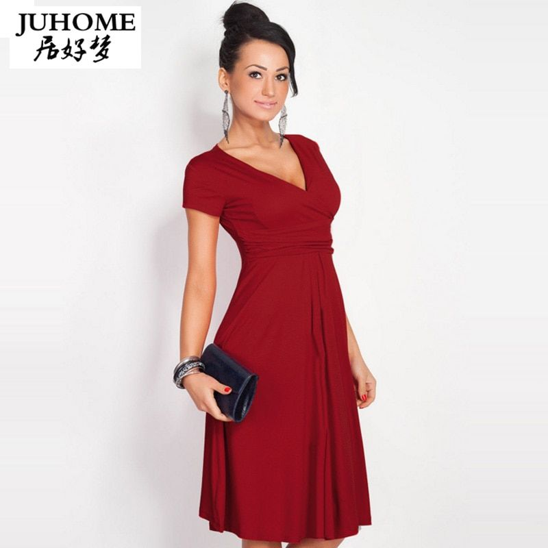 Big Size Ladies Office tunic Dress womens 2018 New summer HOT red Elegant V-neck short Sleeve Pleated Plus Size Dress Vestidos