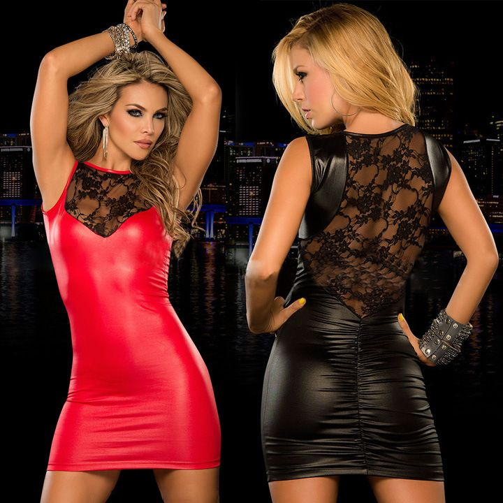 Lady Imitate Leather dress mini dress Women sexy Lace dress slim fitted night bar Club dresses black red Hot catsuit