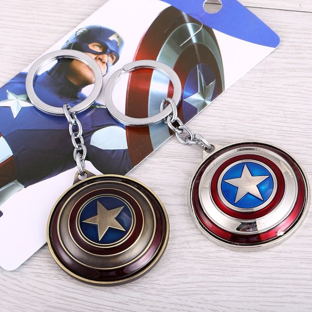 The Avengers Captain America Key Chain Rotatable Shield Key Rings For Gift Chaveiro Car Keychain Jewelry Key Holder Souvenir