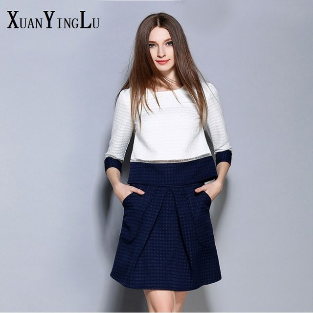 Hot OL! XUANYINGLU Office Sets 2016 New Autumn Sets round neck long-sleeved solid color high-end fashion brand sexy Women's Sets