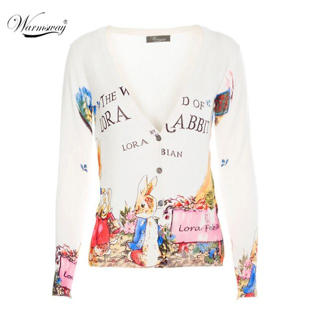 Women's Fall Fashion Rabbit Letter Printing V-neck sweater women's Cardigans Breathable cotton shirts one size for S/M ws-015
