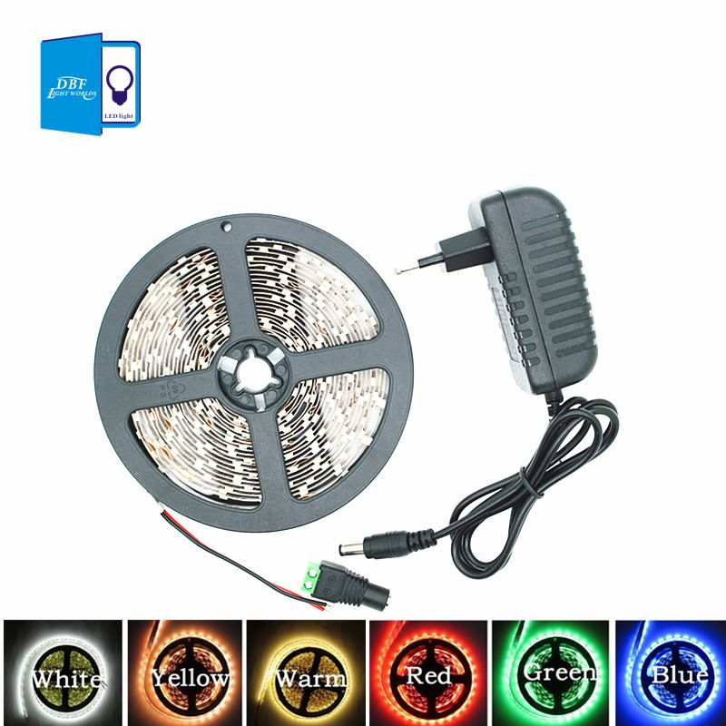 [DBF]5M SMD3528 LED Strip light white /warm white /blue/red /green 300 Leds 60led/m DC12V  flexible lamps tape +2A 24W adapter