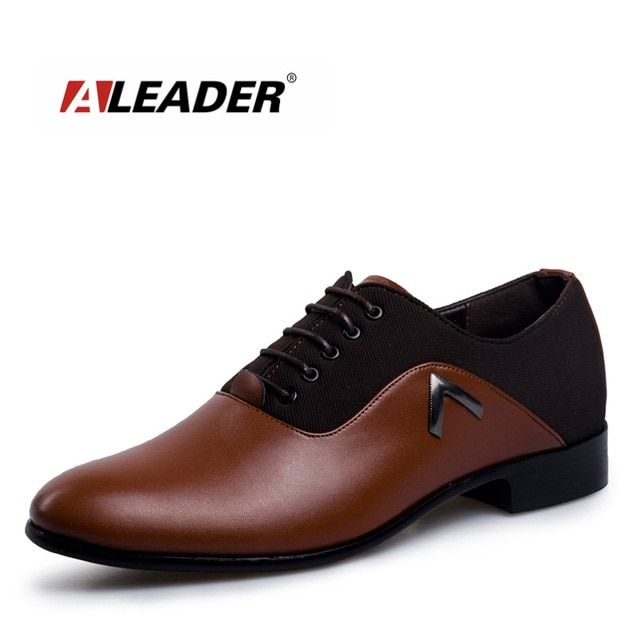 Aleader Big Size Business Mens Dress Shoes Casual Leather Oxford Flats For Men Fashion Luxury Brand Wedding Formal Shoes Male