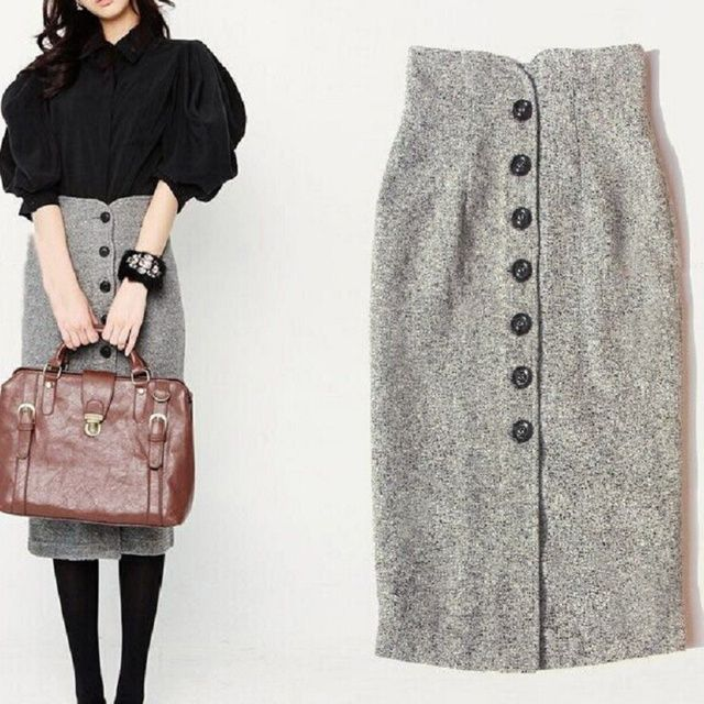 Autumn And Winter Women's Skirts Korean Style Female Single-Breasted Woolen Waist Slim Package Hip Skirt
