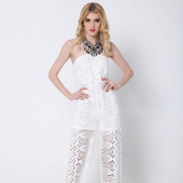Europe Style 2016 Summer Fashion White Hollow Out Lace Strapless Jumpsuit Women Elegant Casual Backless Rompers Pants