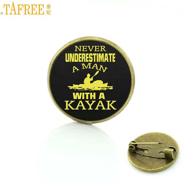 TAFREE Brand vintage summer Kayak Slalom brooches fashion Love water sports Canoe Polo badge pins for men women jewelry SP605