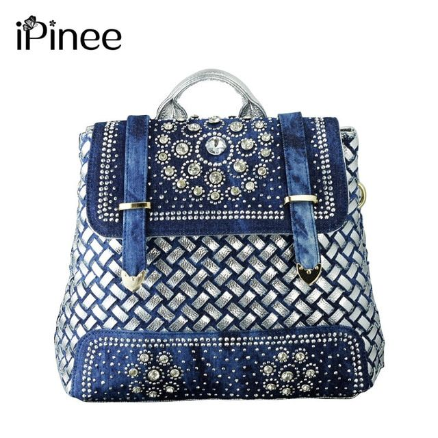 iPinee Women 2018 big school bags casual cute denim jean women backpack for travel bags vintage school backpacks wholesale