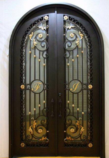 "Custom 38"" x96""wrought iron doors front doors iron entry doors hench-d11"