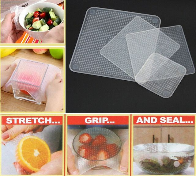 4Pcs Reusable Food-grade Plastic Wrap Refrigerator Microwave Silicone Plastic Wrap 2016 New