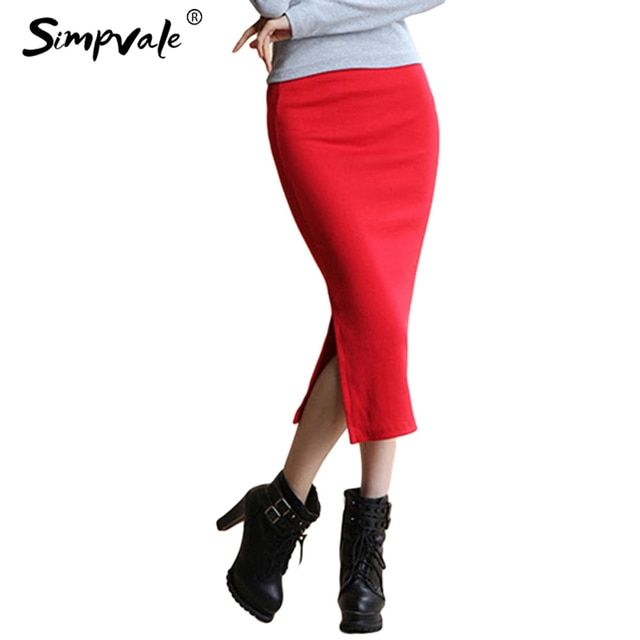 SIMPVALE Stretch Slim Step Skirt Women Sexy Pencil Office Package Hip Skirts Mid Waist Mid-Calf Solid Skirt Casual Lady Skirts