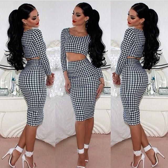 Hot Sales Sexy Women Houndstooth Long Sleeve Tops 2pcs Set Midi Dress Bodycon Clubwear