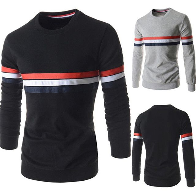 New Casual Fashion Designed Round-Neck Shirt Men's Long Sleeve Cotton Clothing Men's sweat shirt warm clothes