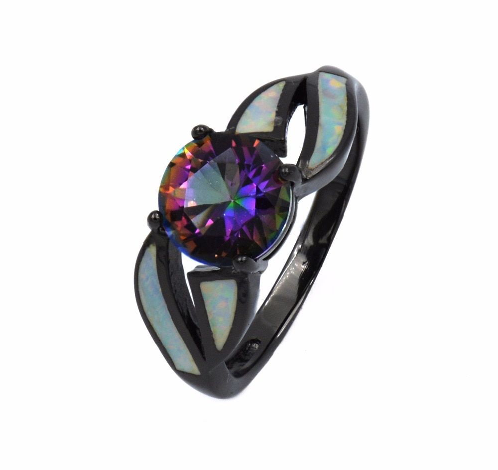 Trendy 18 k Black Gold White Fire Opal Ring with Genuine Mystic Rainbow Stone
