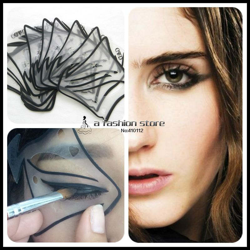 7 style in 1 set Quick Makeup Cat Eyeliner Smokey Eyeshadow Drawing Guide Reusable Stencil for Classic Eye Liner Template