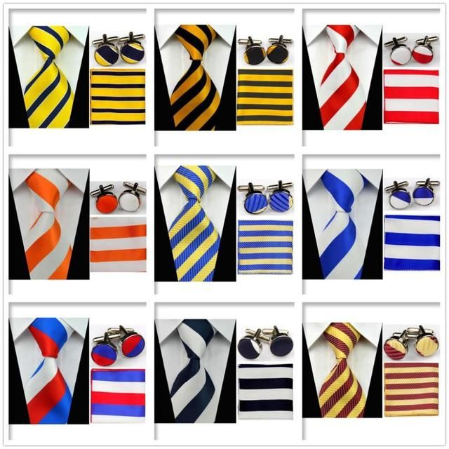 UN6 Men Classic Accessories Blue Navy Red Yellow Ties Smooth Formal Party Evening Necktie Sets Match Cufflinks Handkerchief Set