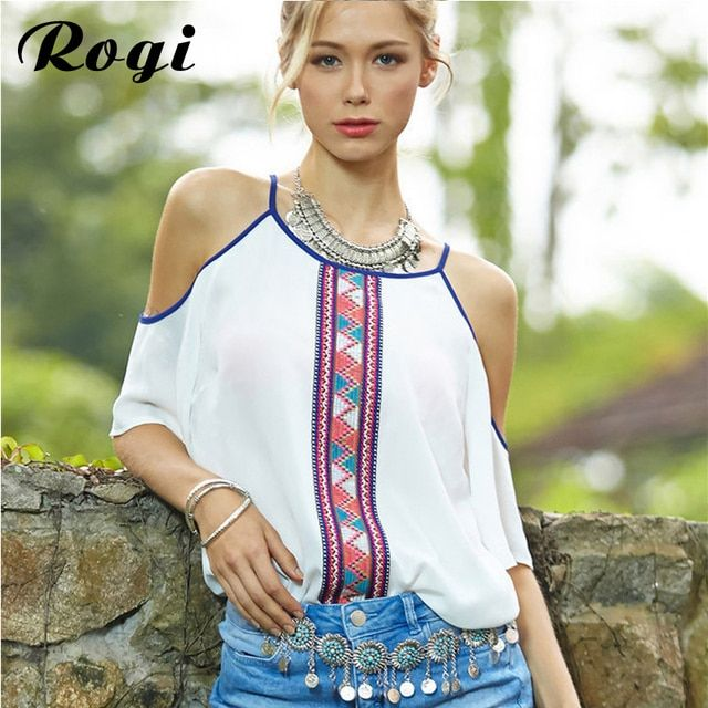 Rogi Women Blouses 2017 White Chiffon Tribal Print Blouse Ladies Bohemian Off Shoulder Shirts Tops Blusas Feminina Camisas